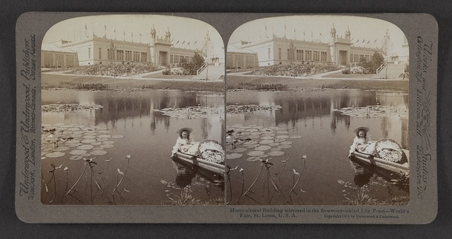 Horticultural Building mirrored in the flower-sprinkled lily pond, World's Fair, St. Louis, U. S. A.