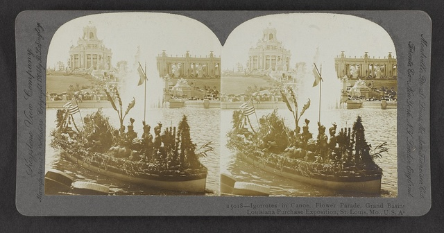 Igorrotes in canoe, Flower Parade, Grand Basin, Louisiana Purchase Exposition, St. Louis, Mo., U.S.A.