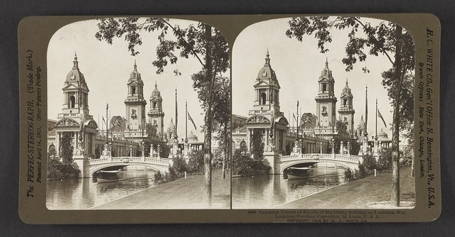Imposing towers of facade of Machinery Building on Louisiana Way, Louisiana Purchase Exposition, St. Louis, U. S. A.