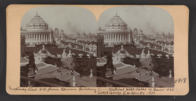 Inspiring view NW from German Building over Festival Hill, World's Fair, St. Louis, 1904