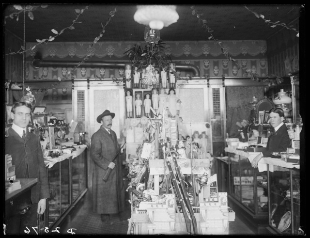 Interior of the drugstore at Overton, Nebraska.