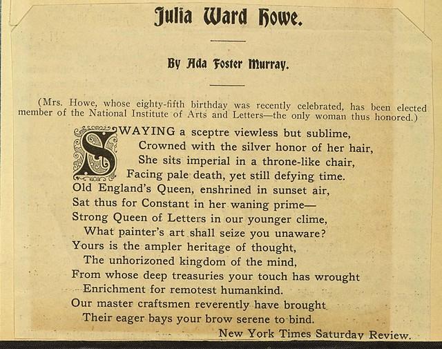 Julia Ward Howe-Poem by Ada Foster Murray