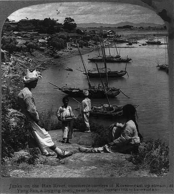 Junks on the Han River, commerce carriers of Korea - east up stream, at Yung San, a logging town, near Seoul
