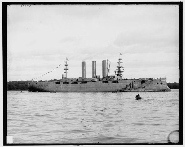 [Launch of battleship Georgia, after launching, broadside, Bath, Me.]