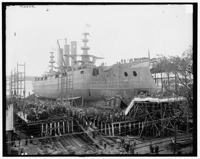 [Launch of battleship Georgia, waiting for launching, Bath, Me.]