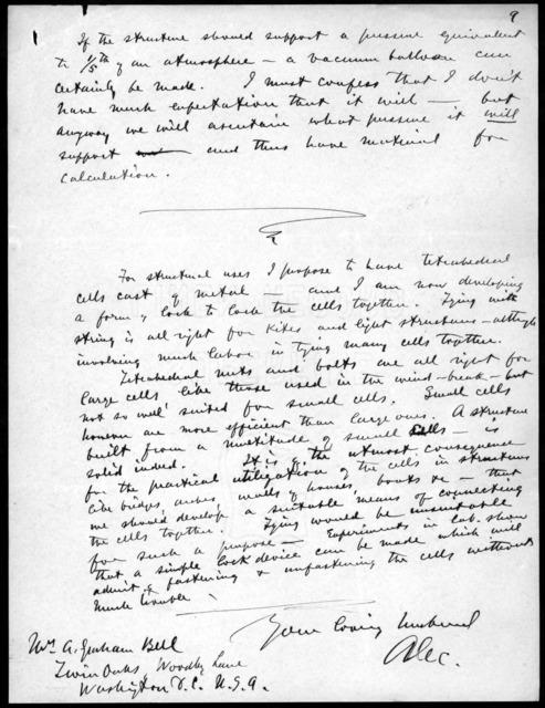 Letter from Alexander Graham Bell to Mabel Hubbard Bell, November 13, 1904