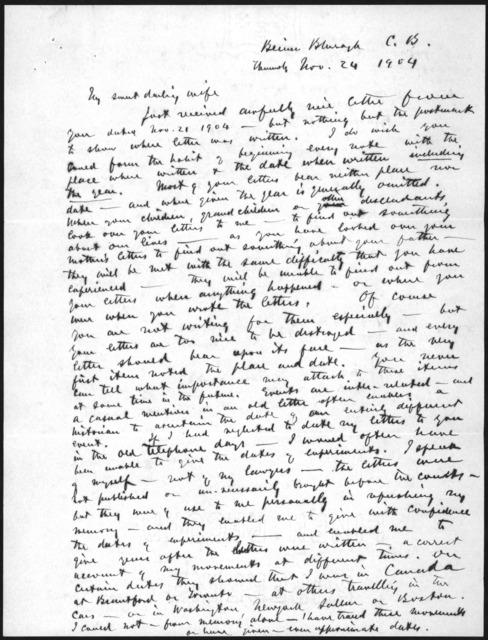 Letter from Alexander Graham Bell to Mabel Hubbard Bell, November 24, 1904