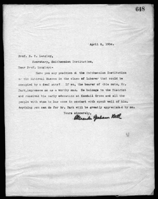 Letter from Alexander Graham Bell to Samuel P. Langley, April 8, 1904