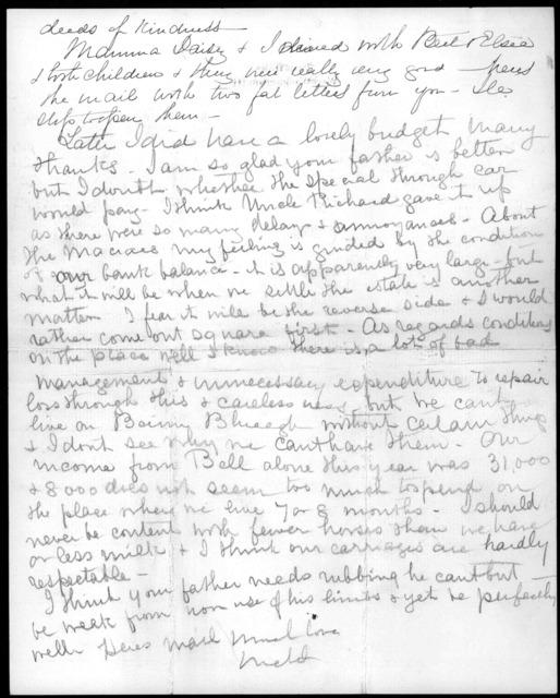 Letter from Mabel Hubbard Bell to Alexander Graham Bell, November 25, 1904