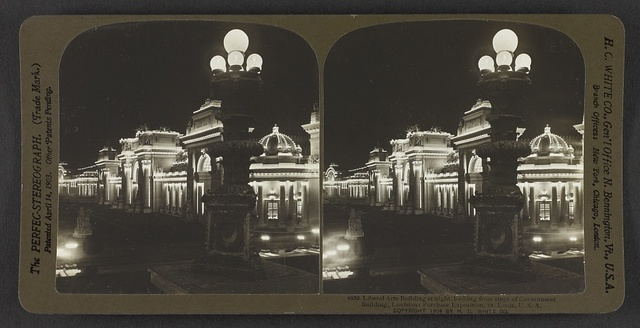 Liberal Arts Building at night, looking from steps of Government Building, Louisiana Purchase Exposition, St. Louis, U. S. A.
