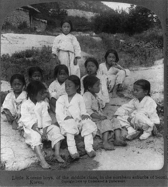 Little Korean boys, of the middle class, in the northern suburbs of Seoul, Korea