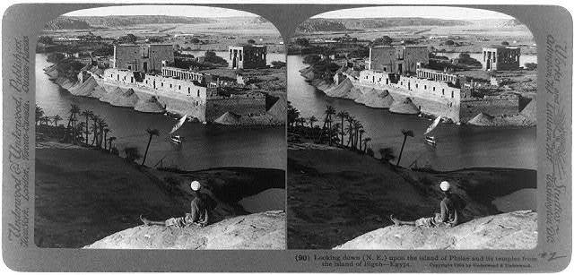 Looking down (N.E.) upon the island of Philæ and its temples from the island of Bigeh, Egypt