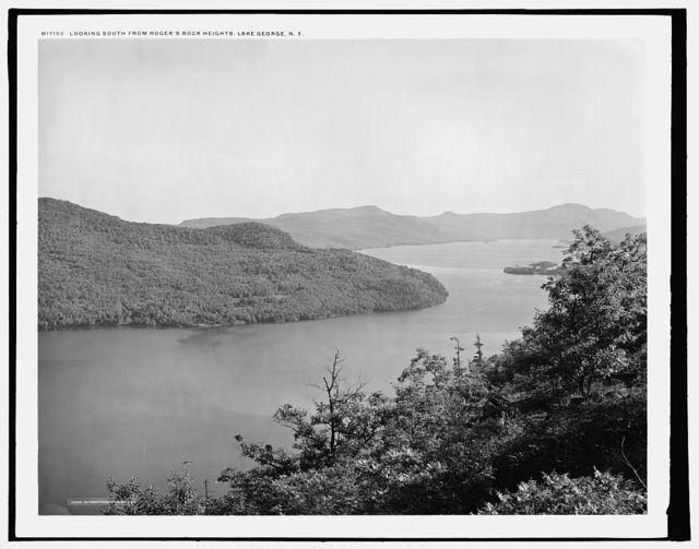 Looking south from Rogers' Rock heights, Lake George, N.Y.