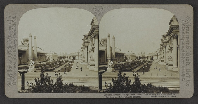 Louisiana Purchase Exposition. Mines and Mining Building, Sunken Gardens and Liberal Arts Building.