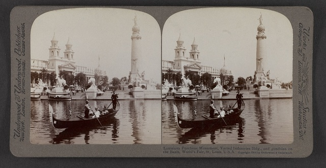 Louisiana Purchase Monument, Varied Industires Bldg., and gondolas on the basin, World's Fair, St. Louis, U. S. A.