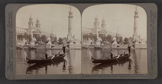 Louisiana Purchase Monument, Varied Industries Bldg., and gondolas on the basin, World's Fair, St. Louis