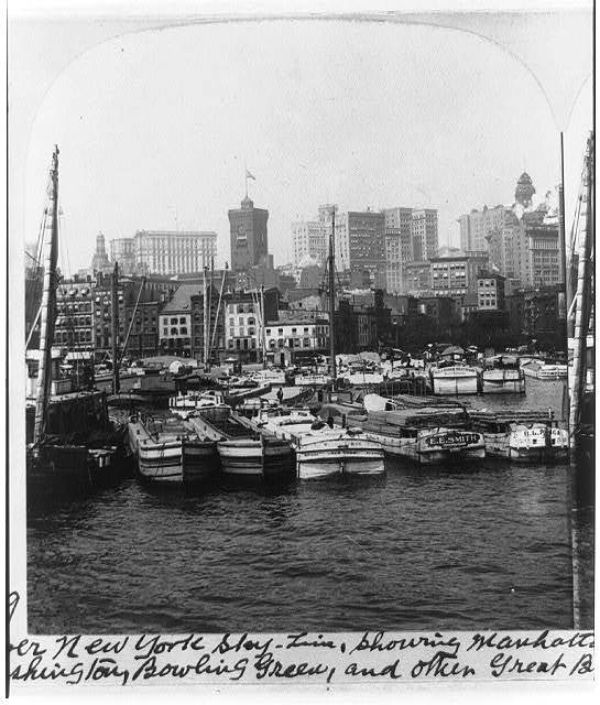 Lower New York skyline, showing Manhattan Life, Standard Oil, Produce Exchange, Washington, Bowling Green, and other great buildings