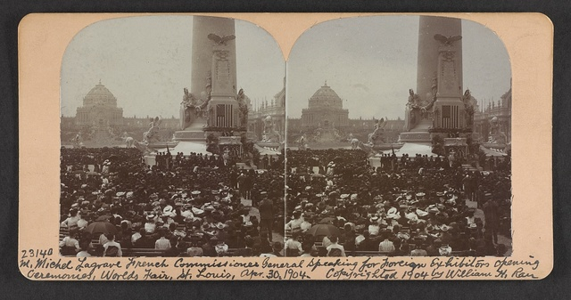 M. Michel Lagrave French Commissioner General speaking for foreign exhibitors opening ceremonies, World's Fair, St. Louis, Apr. 30, 1904