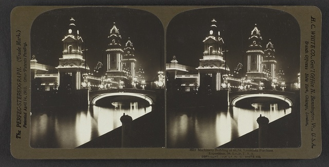 Machinery building at night, Louisiana Purchase Exposition, St. Louis, U. S. A.