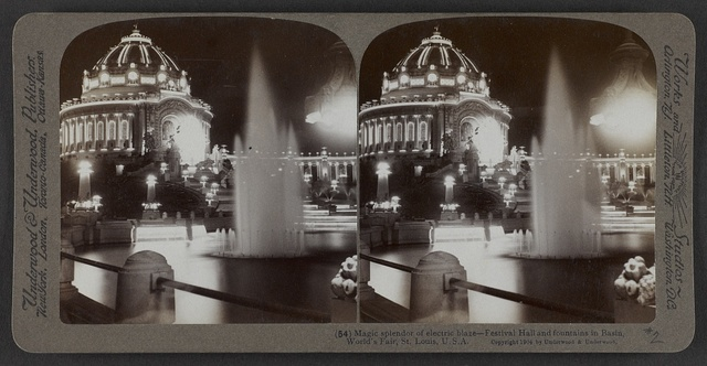 Magic splendor of electric blaze - Festival Hall and fountains in Basin, World's Fair,  St. Louis,  U.S.A.