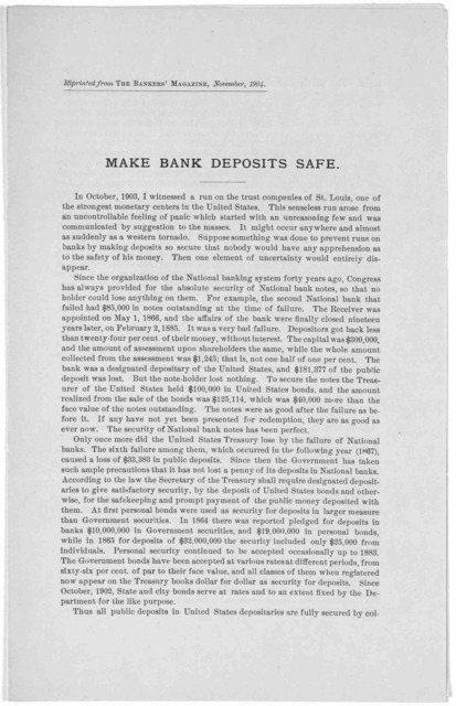 Make bank deposits safe ... Reprinted from the Bankers' magazine, November, 1904.