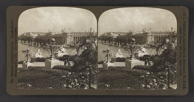 Manufactures and Education Buildings, two of the large exhibit palaces, northeast from the Cascade Gardens, Louisiana Purchase Exposition, St. Louis, U. S. A.