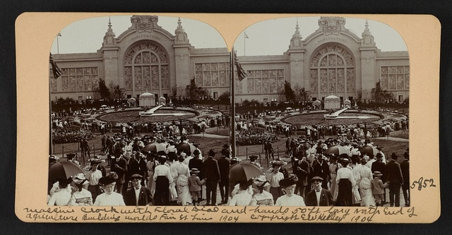 Massive clock with floral dial and hands 50 ft long north end of Agriculture Building, World's Fair, St. Louis, U. S. A.