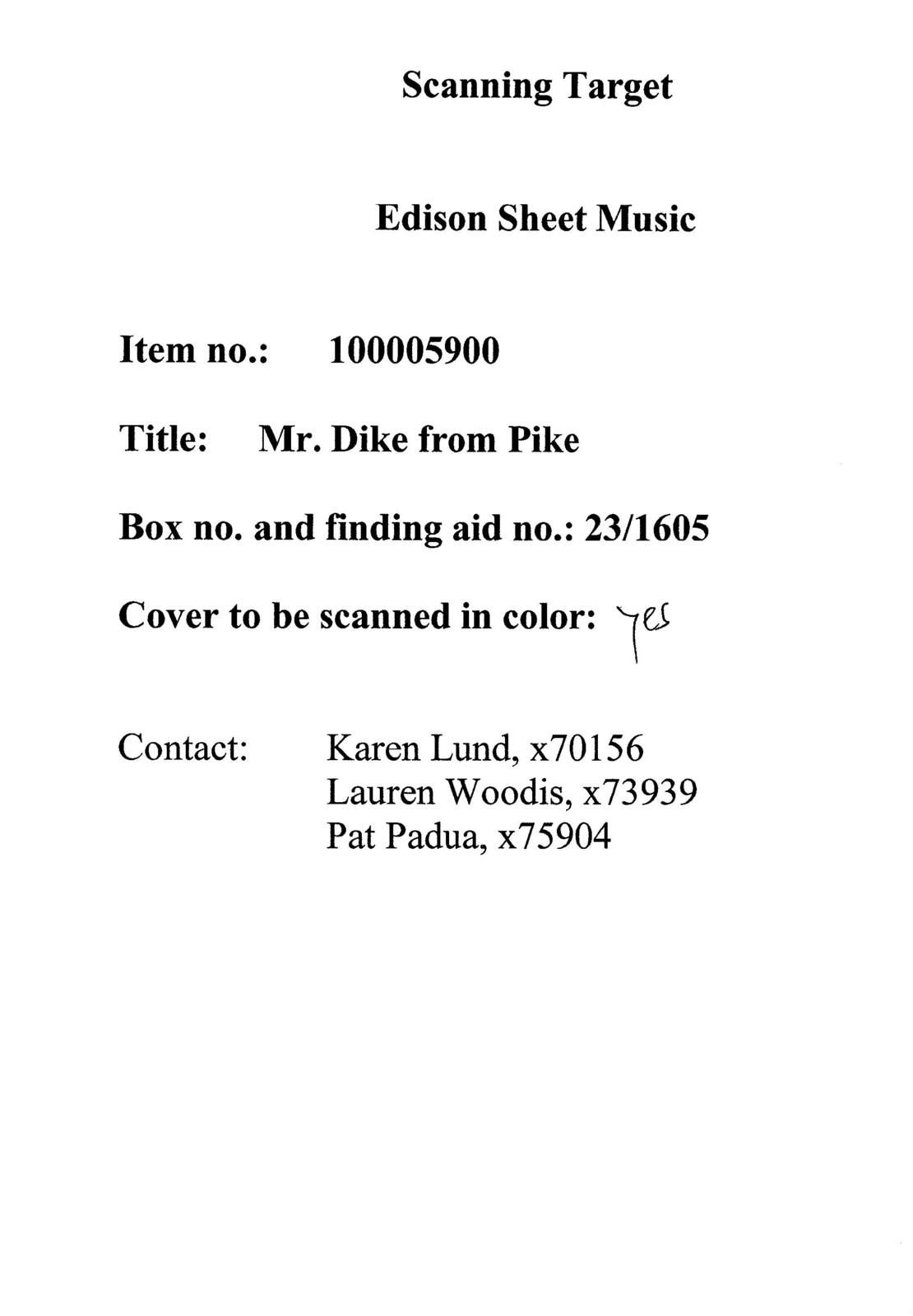 Mr. Dike from Pike