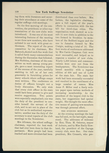 New York Suffrage Newsletter