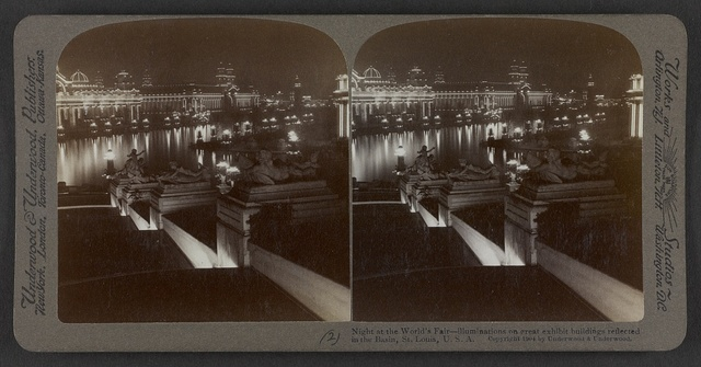 Night at the World's Fair - Illuminations on great exhibit buildings reflected in the Basin, St. Louis, U.S.A.