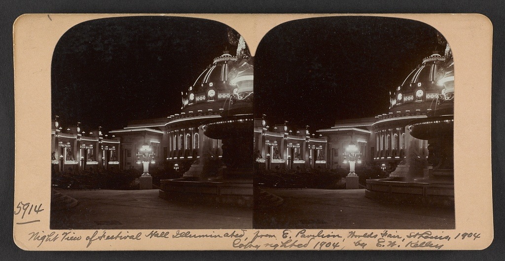 Night view of Festival Hall illuminated, from E. Pavilion, Worlds Fair, St. Louis