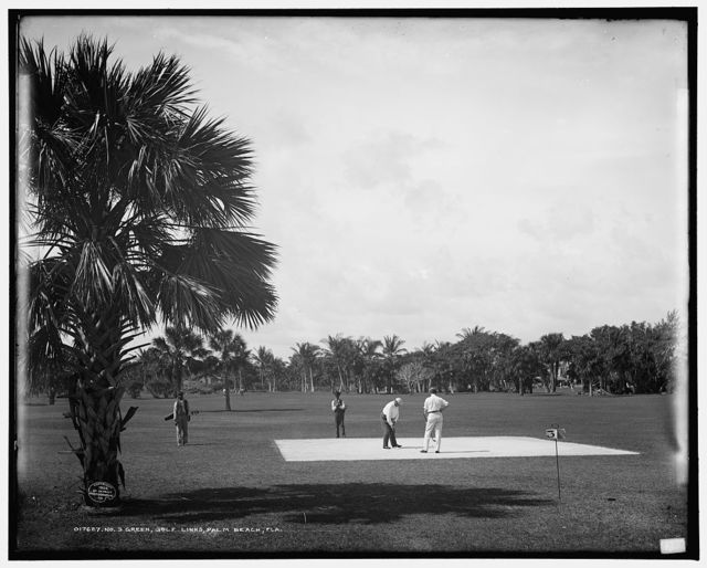 No. 3 green, golf links, Palm Beach, Fla.