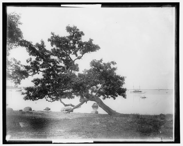 N.Y. Yacht Club station no. 5 and Derring's [i.e. Dering] Harbor from Manhansett [sic], Shelter Island, N.Y.