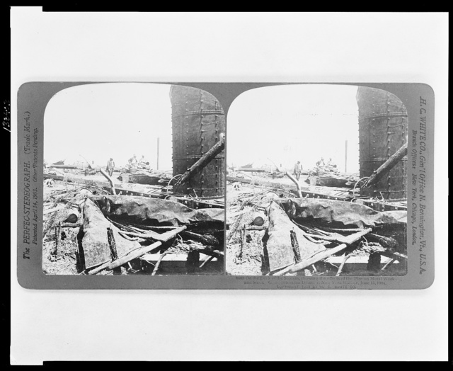 On the deck of the Slocum, showing the effects of the fire on metal work and s[tee]l. G[enera]l Slocum Di[saste]r, New York H[arbo]r, June 15, 1904