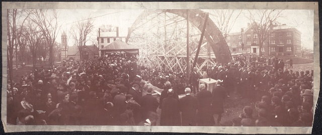 One panoramic photograph showing the Earl of Dartmouth laying the corner stone of new building at Dartmouth College, Oct. 26, 1904