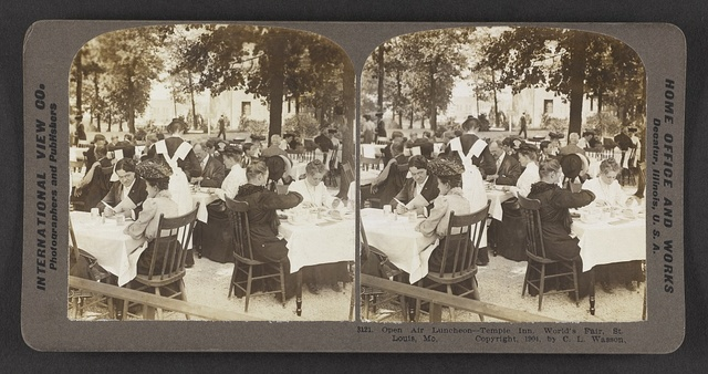 Open air luncheon, Temple Inn, World's Fair, St. Louis, Mo.