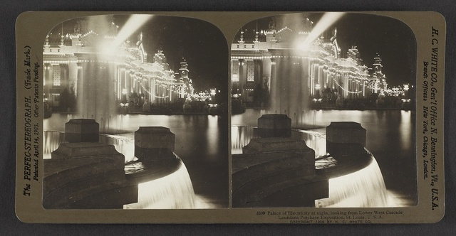 Palace of Electricity at night, looking from lower west cascade, Louisiana Purchase Exposition, St. Louis, U. S. A.
