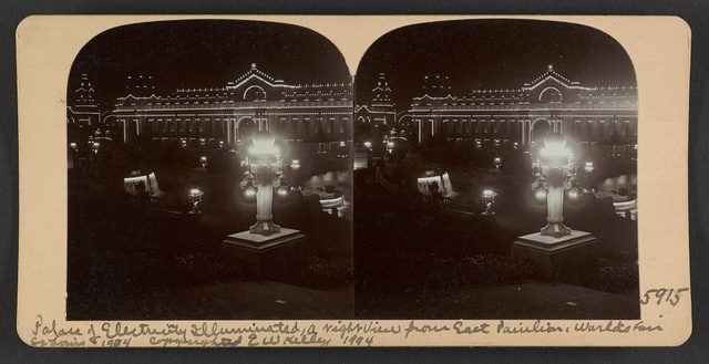 Palace of Electricity illuminated, a night view from East Pavilion, Worlds Fair, St. Louis