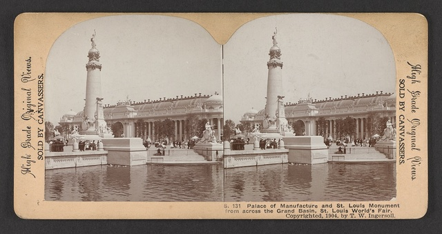 Palace of Manufacture and St. Louis Monument from across the Grand Basin, St. Louis World's Fair
