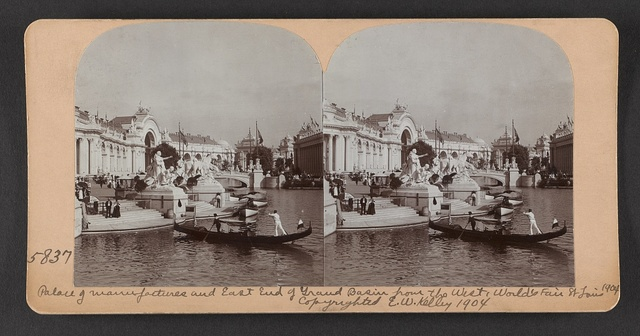 Palace of Manufactures and east end of Grand Basin from the west, World's Fair, St. Louis, 1904.