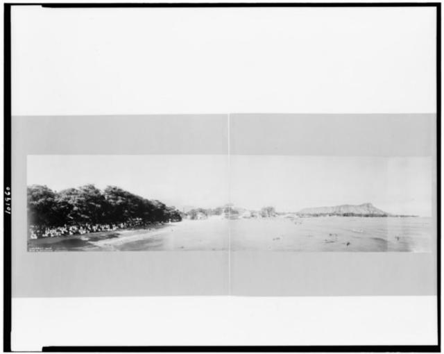 [Panorama of Waikiki beach and ocean, Honolulu, Hawaii]