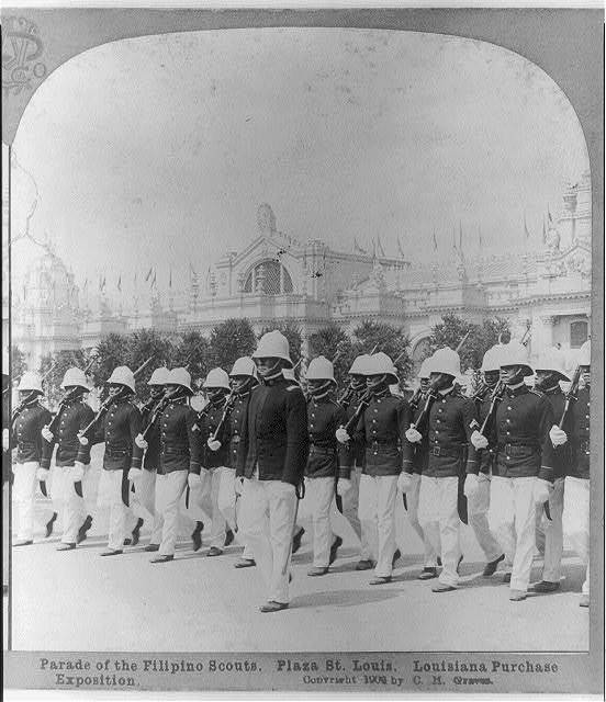 Parade of the Filipino Scouts. Plaza St. Louis, Louisiana Purchase Exposition