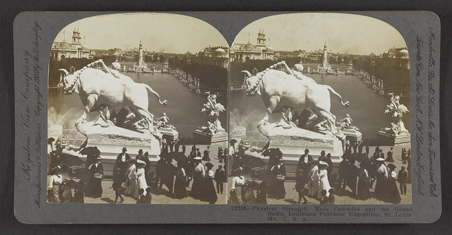 Physical strength, main cascades and the Grand Basin, Louisiana Purchase Exposition, St. Louis, Mo., U. S. A.