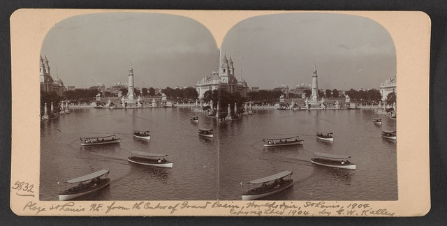 Plaza St. Louis N. E. from the center of Grand Basin, World's Fair, St. Louis, 1904.