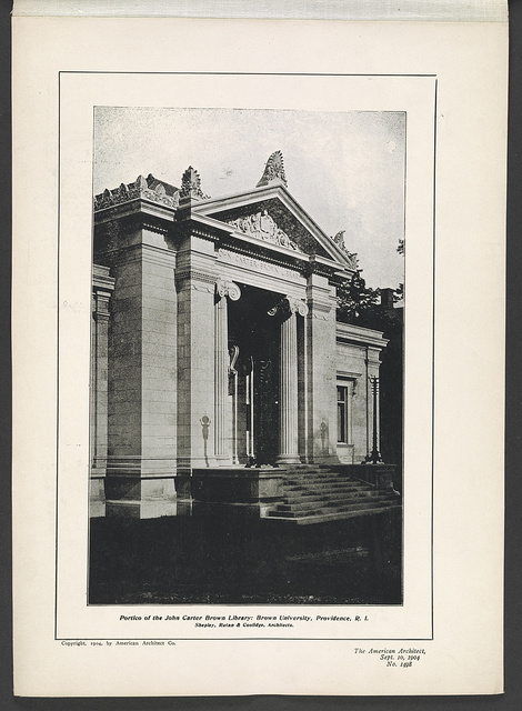 Portico of the John Carter Brown Library, Brown University, Providence, R.I. Shepley, Rutan & Coolidge, architects.