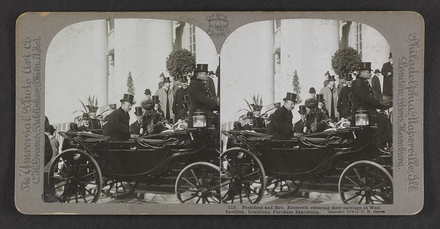 President and Mrs. Roosevelt entering their carriage at West Pavilion, Louisiana Purchase Exposition, St. Louis