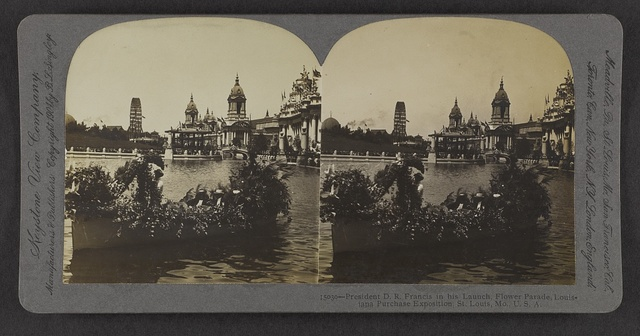 President D. R. Francis in his launch, Flower Parade, Louisiana Purchase Exposition, St. Louis, Mo., U.S.A.