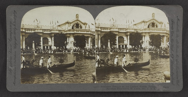 President Francis in his launch, Flower Parade, Louisiana Purchase Exposition, St. Louis, Mo., U.S.A.