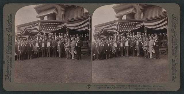 President Roosevelt, members of Notification Committee and guests, Sagamore Hill, Oyster Bay, N.Y.