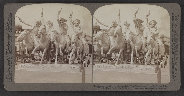 "Remington's jolly ""Cowboys off the Trail,"" (sculpture), on the festive Pike, World's Fair, St. Louis, U. S. A."